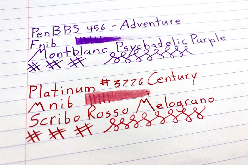 comparison of PenBBS 456 F nib line width to Platinum #3776 Century M Nib