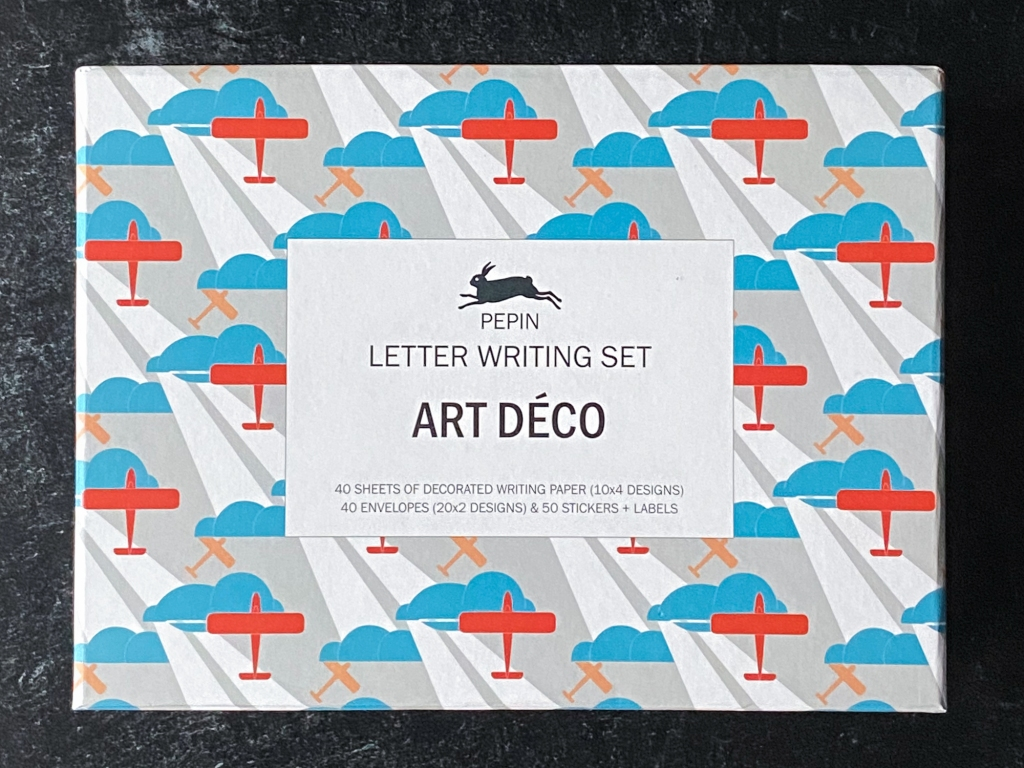 Overhead view of Pepin press Art Déco letter writing set