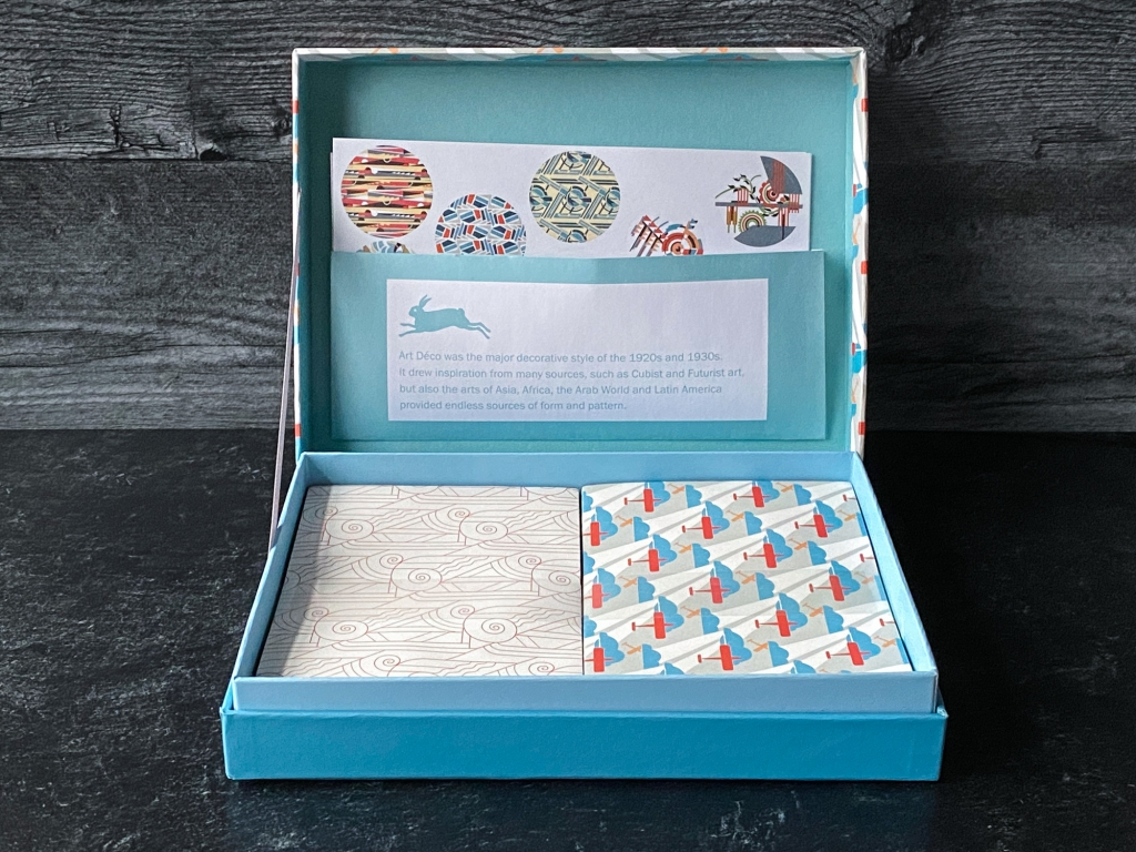 The Pepin Press Art Déco letter writing set opened