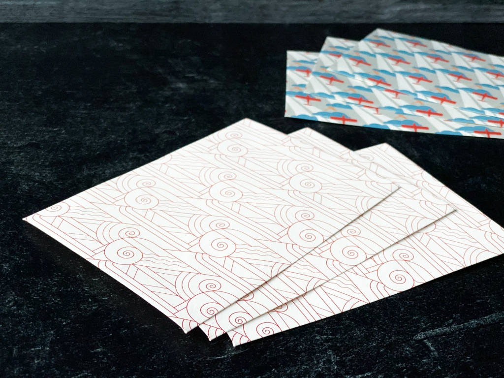 Art Déco envelope in two patterns